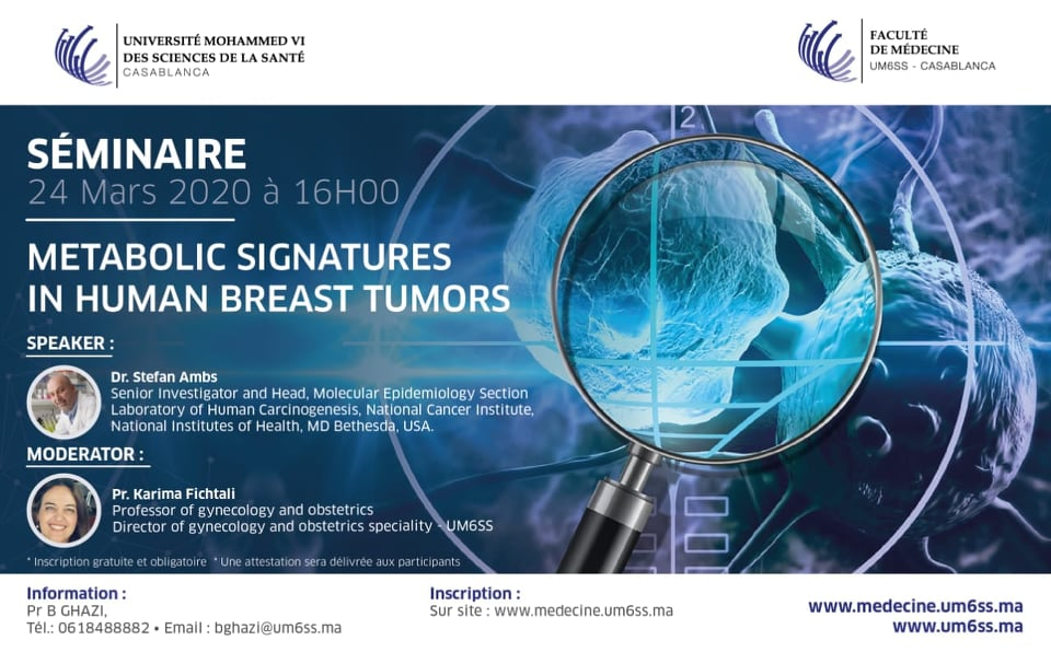 SÉMINAIRE : METABOLIC SIGNATURES IN HUMAN BREAST TUMORS