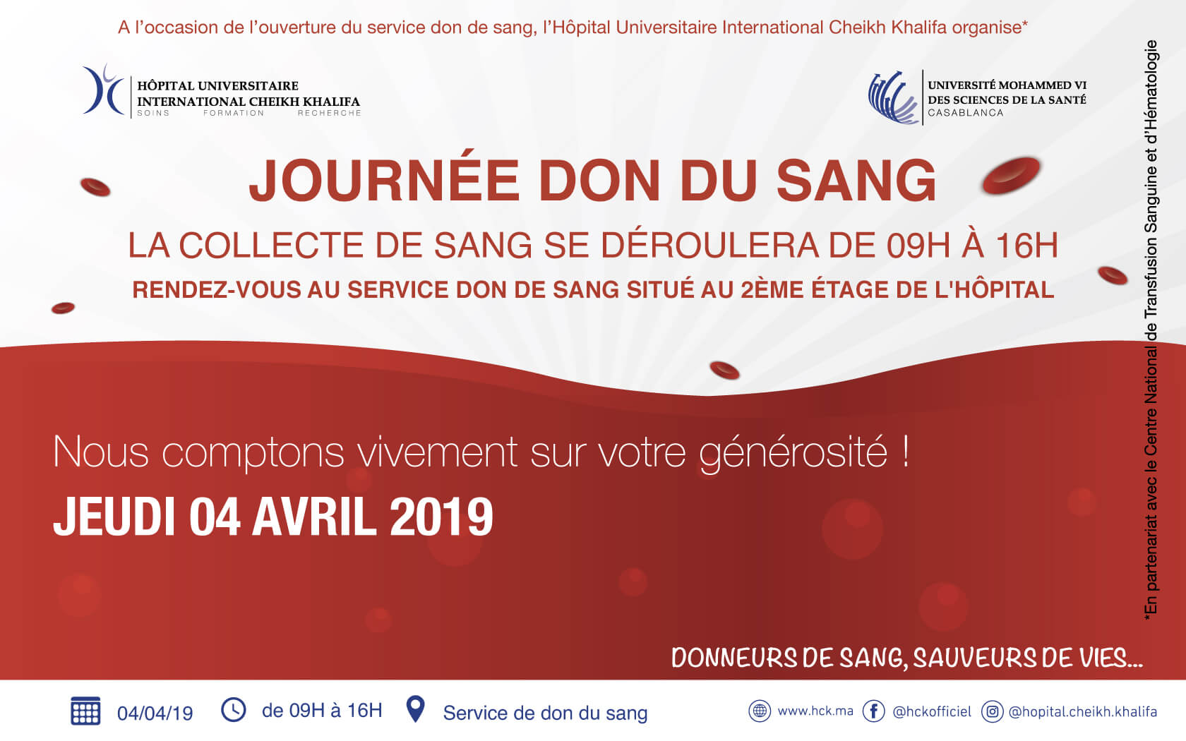 Ouverture du service don de sang l'Hôpital Universitaire International Cheikh Khalifa
