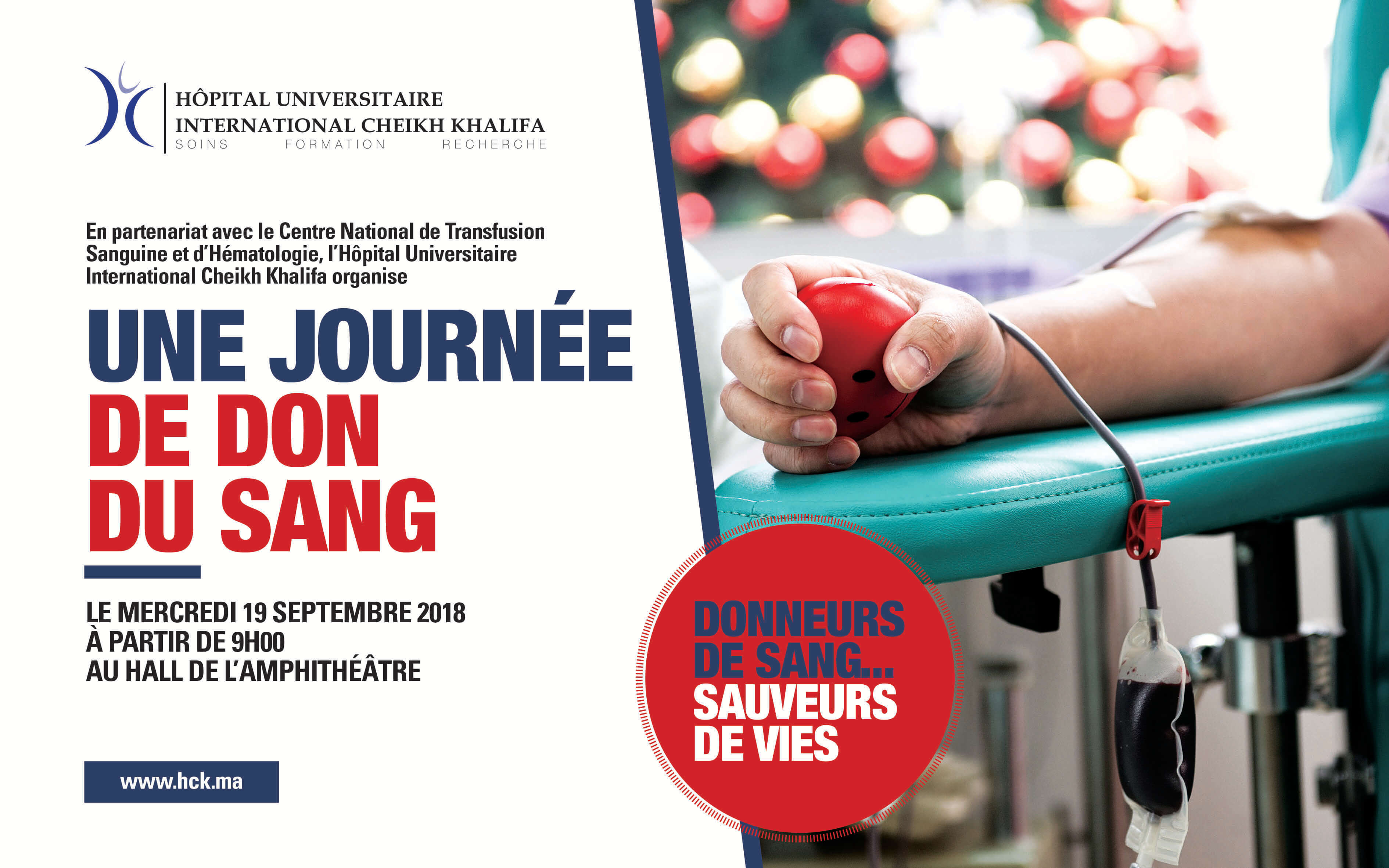 L'HÔPITAL UNIVERSITAIRE INTERNATIONAL CHEIKH KHALIFA LANCE UNE CAMPAGNE DE DON DU SANG